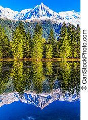 The resort of Chamonix, Haute-Savoie - City Park is...