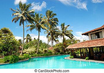 The restaurant at swimming pool, Bentota, Sri Lanka