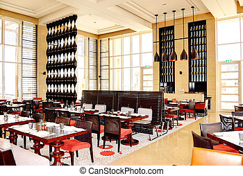 The restaurant interior of luxury hotel, Saadiyat island,...