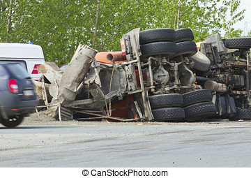 the result of a collision between two trucks - truck...