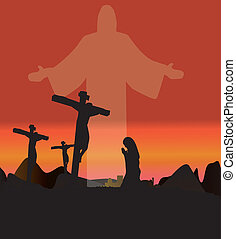 the resurrection of jesus, 3 crosses the background