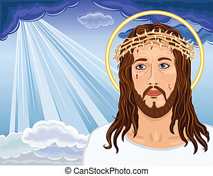 Christ is Risen - portrait of Jesus Christ bringing salvation to humanity. Vector illustration saved as EPS AI8, all elements layered, no effects, easy edit and print.