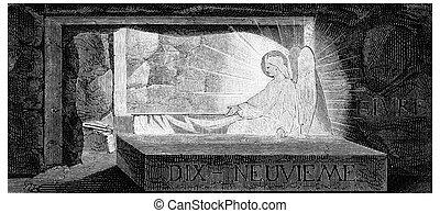 The resurrection, vintage engraving.