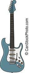 The retro blue electric guitar