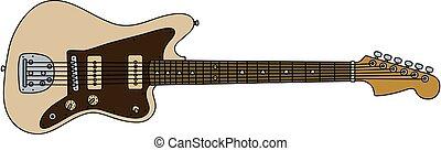 The retro cream electric guitar