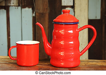 The retro Cup and Jug of coffee