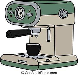 The retro green and cream electric espresso maker