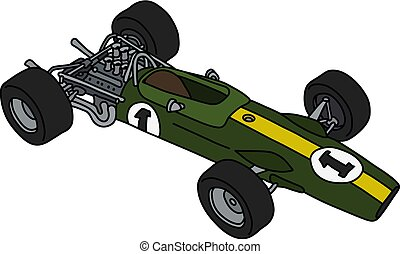 The retro green formula one car