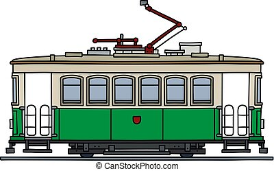 The retro green tramway - The vectorized hand drawing of a ...