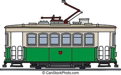 The retro green tramway