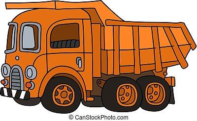 The retro orange dumper truck