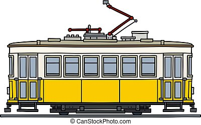 The retro yellow tramway - The vectorized hand drawing of an...