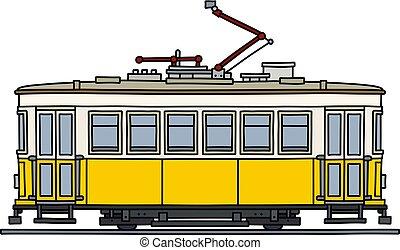 The retro yellow tramway