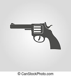 The revolver icon. Gun and weapon symbol. Flat