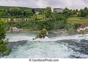 The Rhine Falls in Neuhausen am Rheinfall, Schaffhausen, Switzerland
