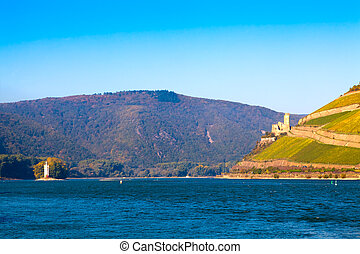 The Rhine near Bingen, Germany. Part of the UNESCO World Heritage Site- Upper Middle Rhine Valley. On the left the Mouse Tower (M?useturm), on the right the castle Burg Ehrenfels.