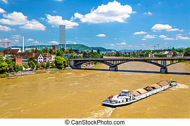 The Rhine river in Basel, Switzerland - View of the Rhine...