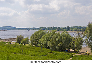 The rhine - view of the scenery along the rhine in Duisburg