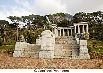 The Rhodes Memorial monumnet in Cape Town, South Africa, on Table Mountain, to the honor of Cecil John Rhodes.