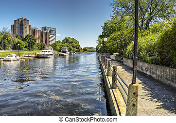 The Rideau Canal in Ottawa, sunny summer day.
