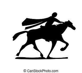 Black And White Cowboy Riding A Horse In The Desert Black And White