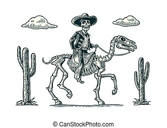 The rider in the Mexican man national costumes galloping on...