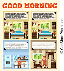 The right start to the day. A healthy lifestyle, good morning, good mood. The power of the spirit, the development of willpower. Early wake up, the scenery outside the window. Vector illustration
