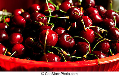 sweet cherry on plate