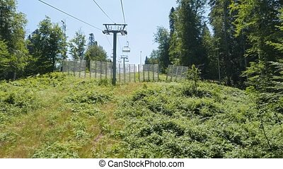 The rise of the chairlift. Sochi, Russia