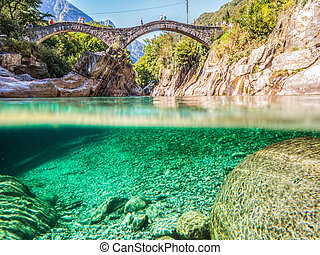 "The double-arched stone bridge ""Ponte dei salti"" in Lavertezzo, Verzasca Valley, Ticino, Switzerland"