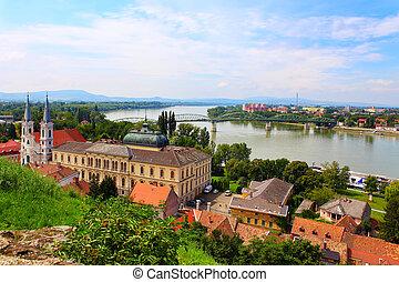 The river Danube, a general view near the coast of Visegrad