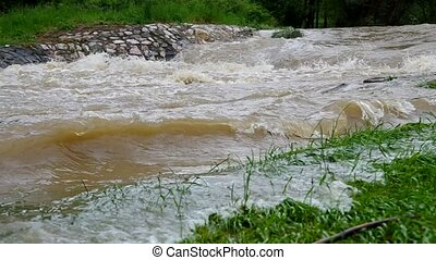 The river overflowed after heavy ra