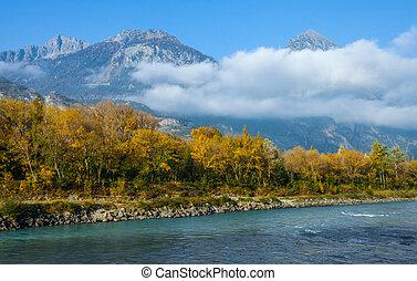 View of Rhone river banks near Martigny, Switzerland.