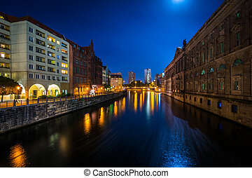The River Spree at night, in Mitte, Berlin, Germany.