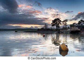 The River Tamar at St John's Lake at Torpoint in Cornwall