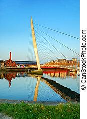 The River Tawe and Sail Bridge in Swansea, UK
