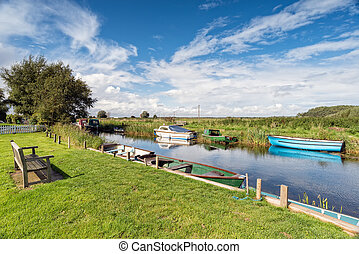 A beautiful sunny day on the Norfolk Broads at West Somerton