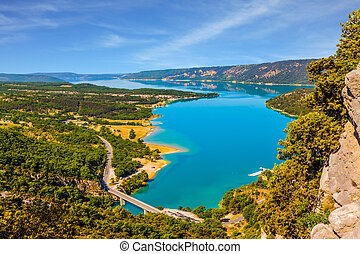The river Verdon flows in the canyon