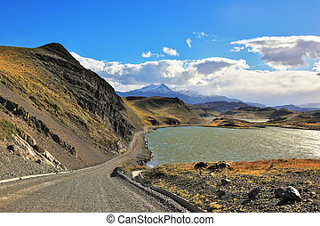 The road and lake