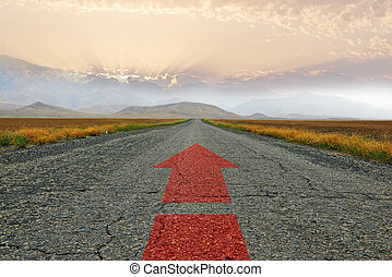 The road and the red arrow