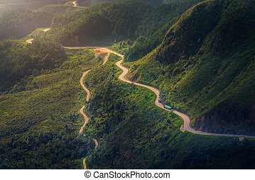 The road between mountains in Sa Pa, Vietnam.