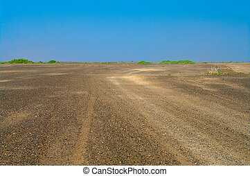 The road in African Desert