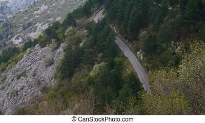 The road in the mountains of Montenegro