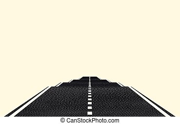 The road into the distance with markings. The concept of travel, journey to rest. Vector object isolated on a light background.