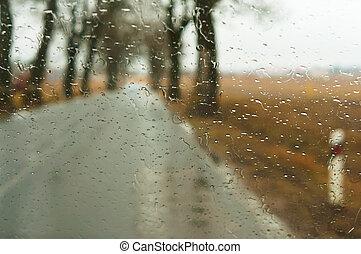 rain drops on the car glass
