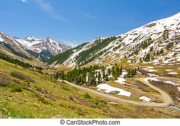 The Road Leading to Animas Forks, a Ghost Town in the San Juan Mountains of Colorado