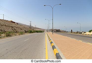 The road near the coast of the Dead Sea, Jordan, Middle East