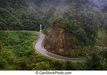 The road near waterfall in Sapa, vietnam. Green valley near the road in mountain.