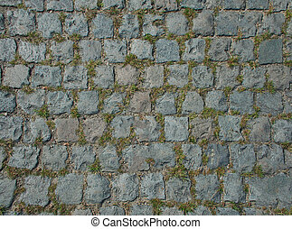 The road paved with stone sprouted grass. Texture or background.