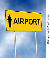 The road sign symbol with text Airport